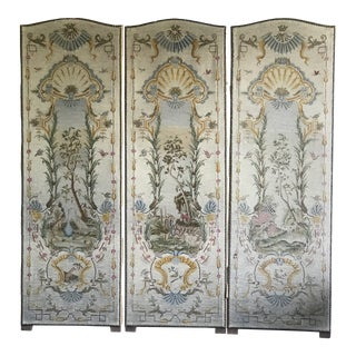 Triptych French Needlepoint Petit Point Wall Hanging Panels a Set of 3 For Sale