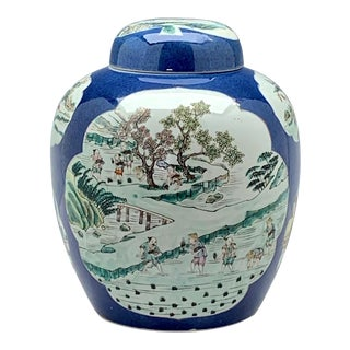 Mid 20th Century Famille Rose Blue Ground Porcelain Ginger Jar, With Rural Scenes For Sale