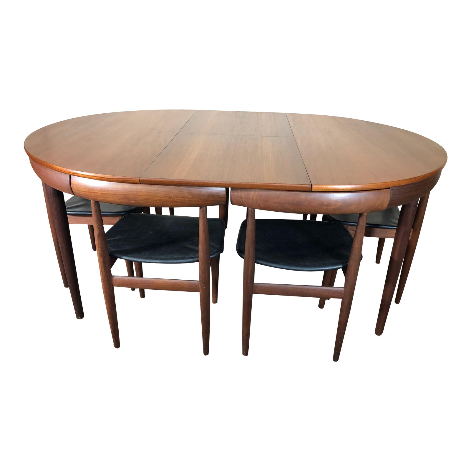 Mid Century Danish Teak Dining Set Hans Olsen Frem Rojle Extending Table Set Of 7 Chairish