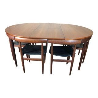 Mid Century Danish Teak Dining Set Hans Olsen Frem Rojle Extending Table - Set of 7 For Sale
