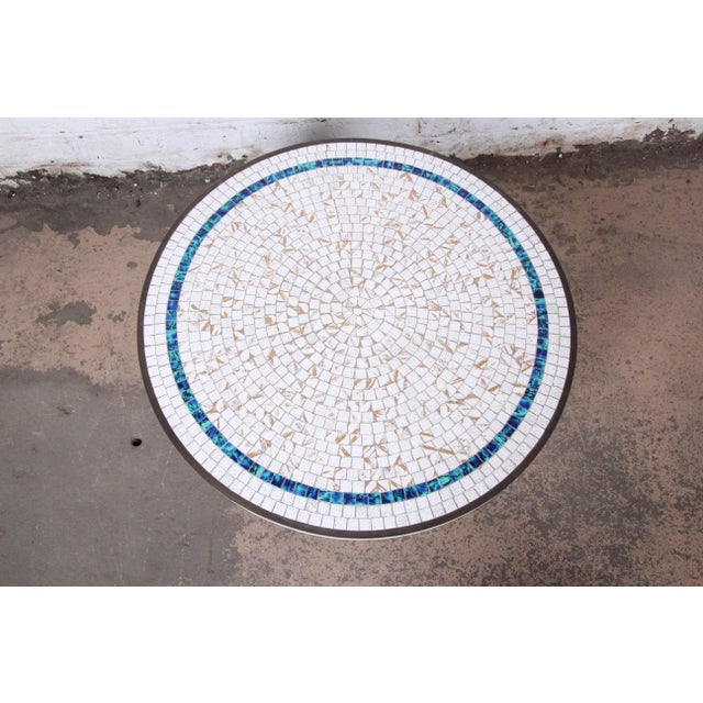 White Italian Mid-Century Modern Mosaic Tile and Brass Cocktail Table, 1950s For Sale - Image 8 of 10