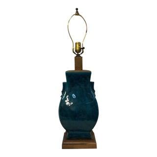 1900s Turquoise Blue Asian Porcelain Lamp For Sale