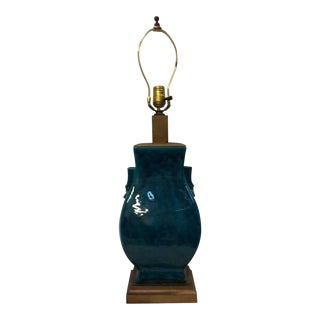 Turquoise Blue Asian Porcelain Lamp For Sale