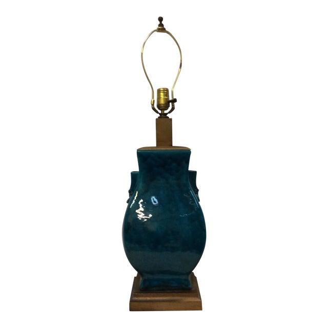 Turquoise Blue Asian Porcelain Lamp - Image 1 of 8