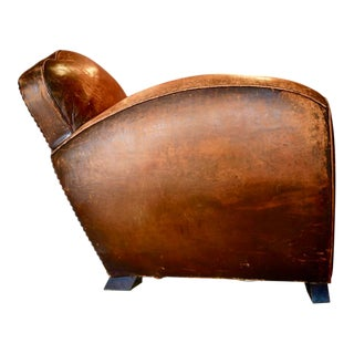 1930s Antique Leather French Club Chair For Sale