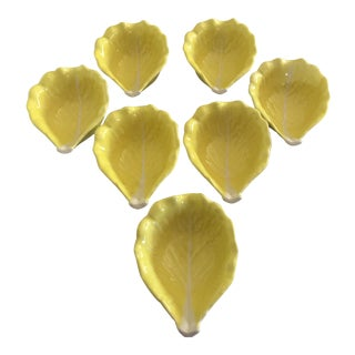 1970s Boho Chic Secla Yellow Cabbage Bowls - Set of 7