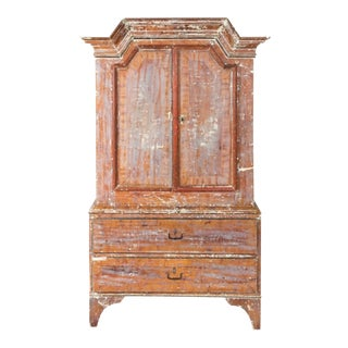 18th Century Swedish Baroque Cabinet With Scandinavian Folk Botanical Pattern For Sale