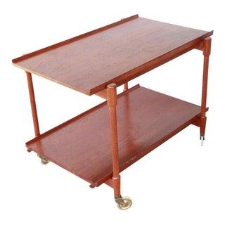 1950s Vintage Teak Wood Poul Hundevad Bar Cart For Sale