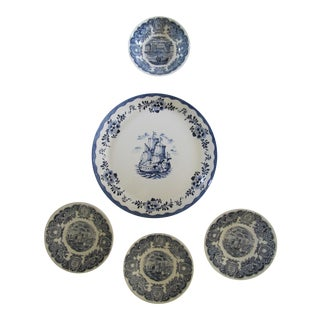 """White & Blue """"Boat"""" Transfer-Ware Plates - 5 Pieces For Sale"""