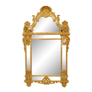 Mid 20th Century French Regency Style Gilt Carved Wall Mirrror For Sale
