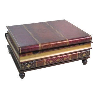 Maitland Smith Leather Stacked Book Coffee Table