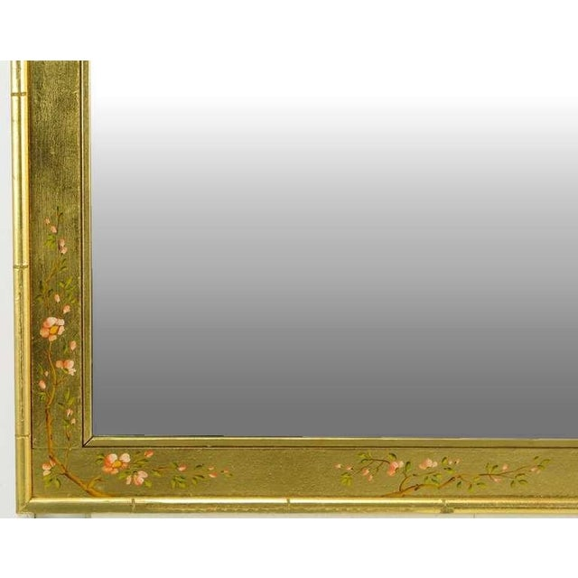 "Labarge 50"" LaBarge Hand Painted & Gilt Beveled Wall Mirror For Sale - Image 4 of 6"