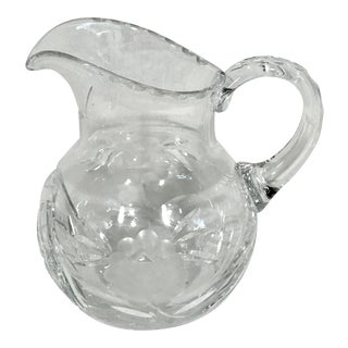 Heavy Wheel Cut Crystal Cream Pitcher For Sale