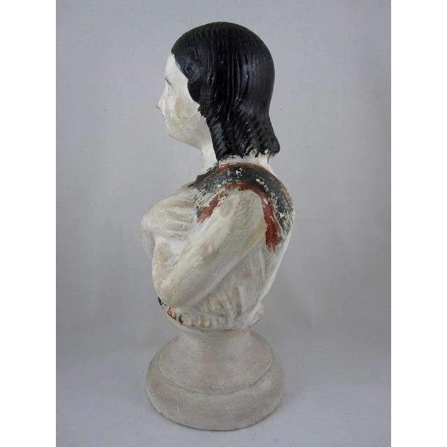 19th Century Pennsylvania Hand-Painted Folk Art Chalkware Female Bust For Sale In Philadelphia - Image 6 of 9