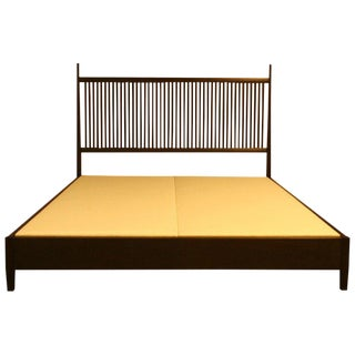 Nichol Walnut Platform Bed For Sale