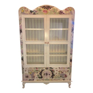 Shabby Chic Mosaic Wares Armoire For Sale