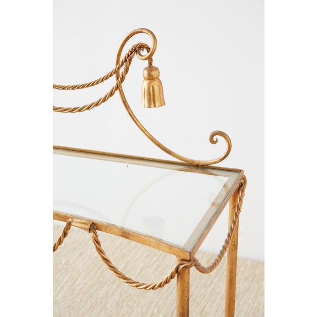 Glass Hollywood Regency Gilt Iron and Faux Rope Vanity For Sale - Image 7 of 13