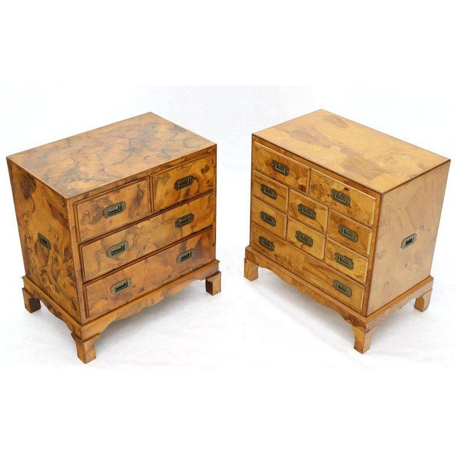 Campaign Style Patch Burl Olive Wood Small Bachelor Chest Dresser Cabinet For Sale - Image 4 of 13