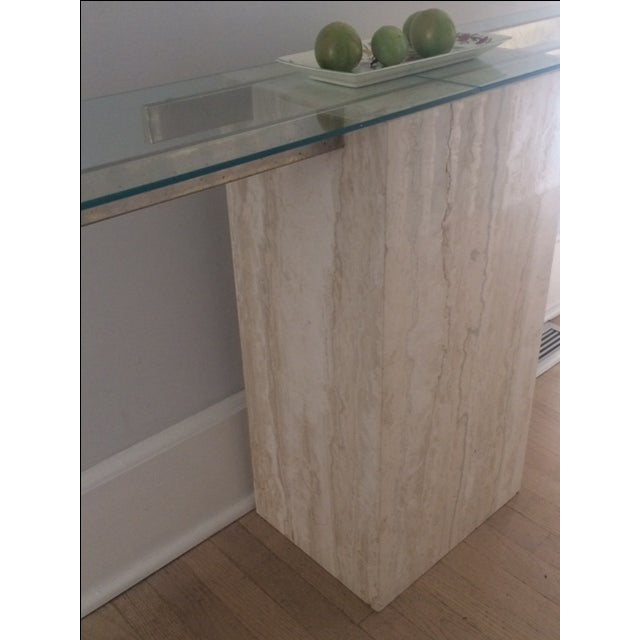 Mid-Century Modern Travertine Console Table & Glass Top - Image 4 of 11