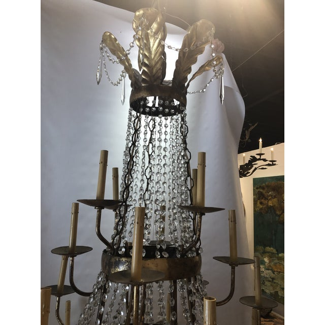 French Vintage French Gilt and Crystal 24 Arm Chandelier For Sale - Image 3 of 13