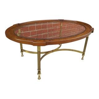 Vintage Brandt Furniture Oval Brass & Burlwood Cocktail Table For Sale