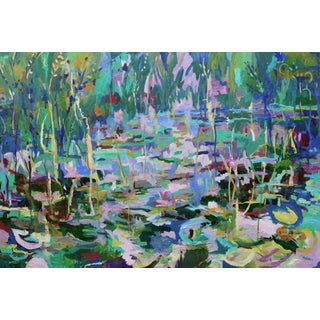 Monumental Lily Pond Oil Painting at Monet's Garden For Sale
