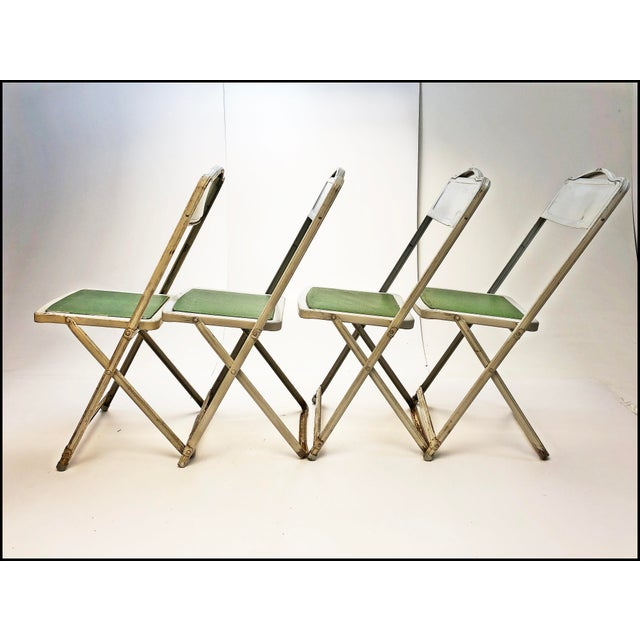 Vintage White Metal Folding Chairs With Green Vinyl Seats - Set of 4 For Sale - Image 6 of 11