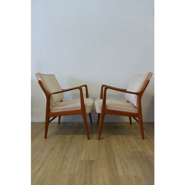 Danish Modern Lounge Chairs in Velvet - A Pair - Image 3 of 6