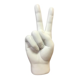 White Resin Peace Sign Hand