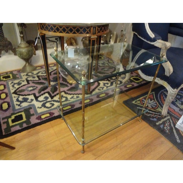 Italian Bronze and Glass Two Tiered Table For Sale - Image 9 of 12