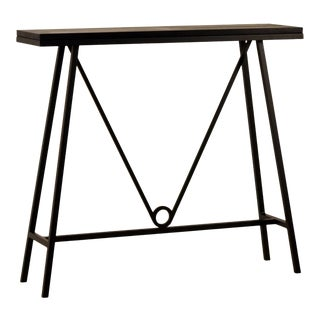'Trapèze' Blackened Steel and Goatskin Console by Design Frères For Sale