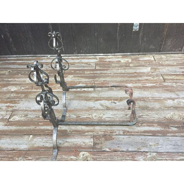 Wrought Iron Fire Dogs - A Pair For Sale - Image 6 of 11