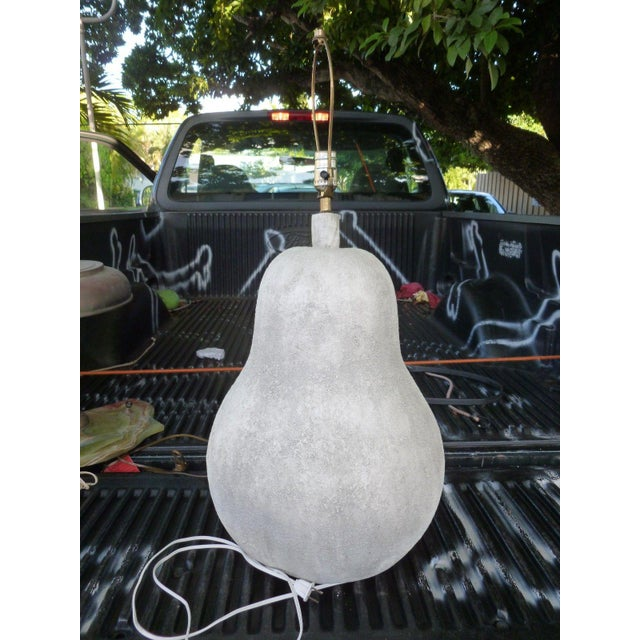 Large 1970's Oversized Plaster Pear Table Lamp For Sale In Miami - Image 6 of 9