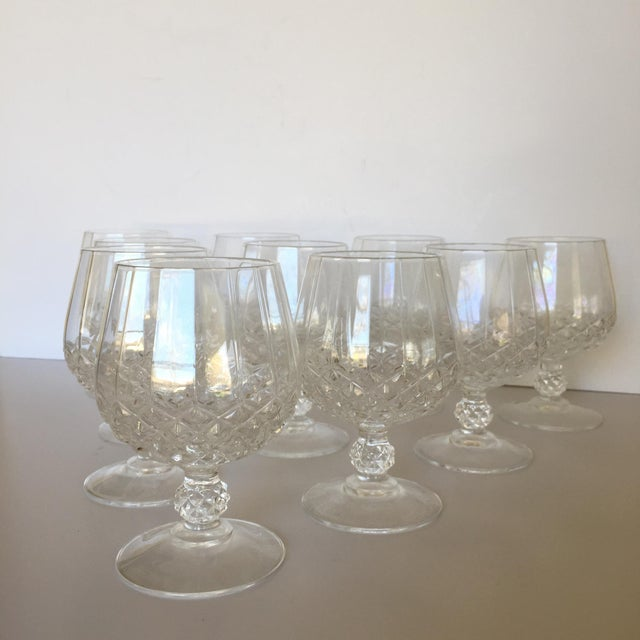Beautiful faceted brandy snifters from a vintage estate have a diamond or pyramid pattern on the bowl. Unique knuckle on...