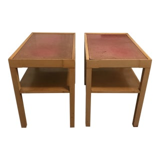1960s Mid Century Leather Topped Tables-A Pair For Sale