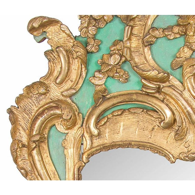 Early 18th Century Exquisite French Louis XV Green Painted and Parcel-Gilt Mirror For Sale - Image 5 of 5