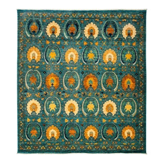 """Suzani, Hand Knotted Square Rug - 8' 2"""" X 8' 10"""" For Sale"""