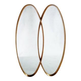 Dual Interlocking Gold Wood Frame Mirror For Sale