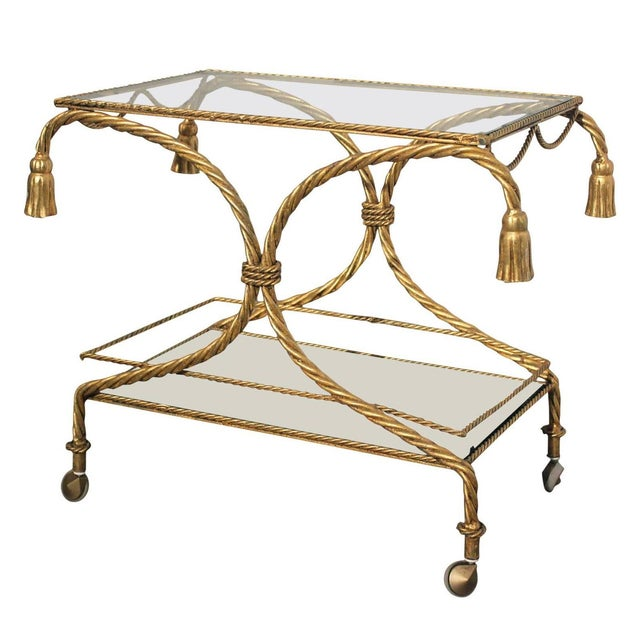 Vintage Italian Gilt Twisted Rope Tiered Bar Cart - Image 1 of 7
