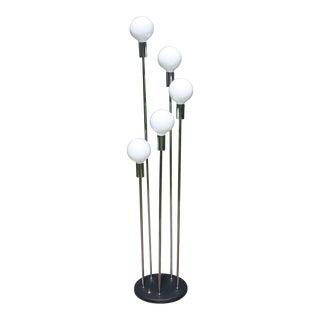 70s Mid-Century Robert Sonneman Style Spiral Waterfall 5-Globe Floor Lamp For Sale