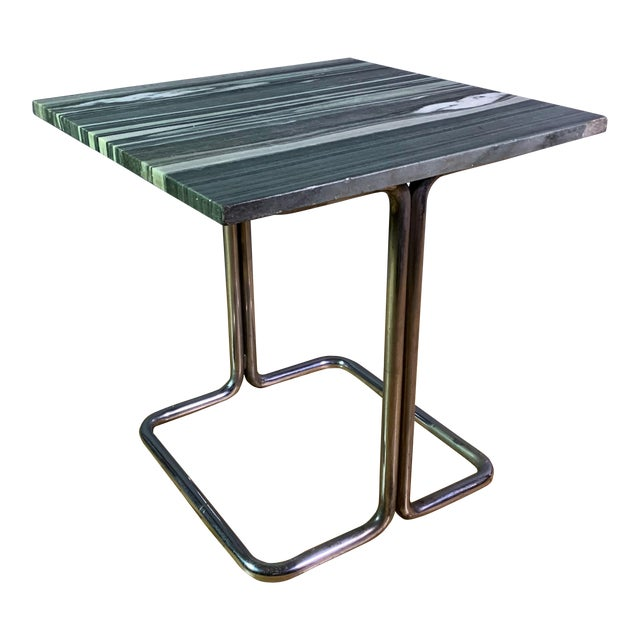 Wolfgang Hoffman (Attr) 1930s Tubular Chrome & Marble Table For Sale