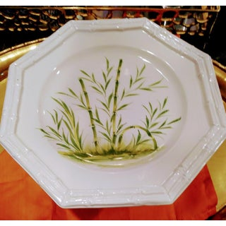 Vintage Ceramic Italian Faux Bamboo White and Green Cake Stand Plate Holder Preview