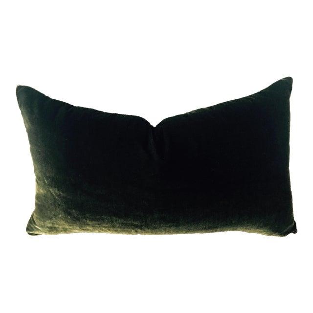 Moss Green Silk Velvet Lumbar Pillow Cover For Sale