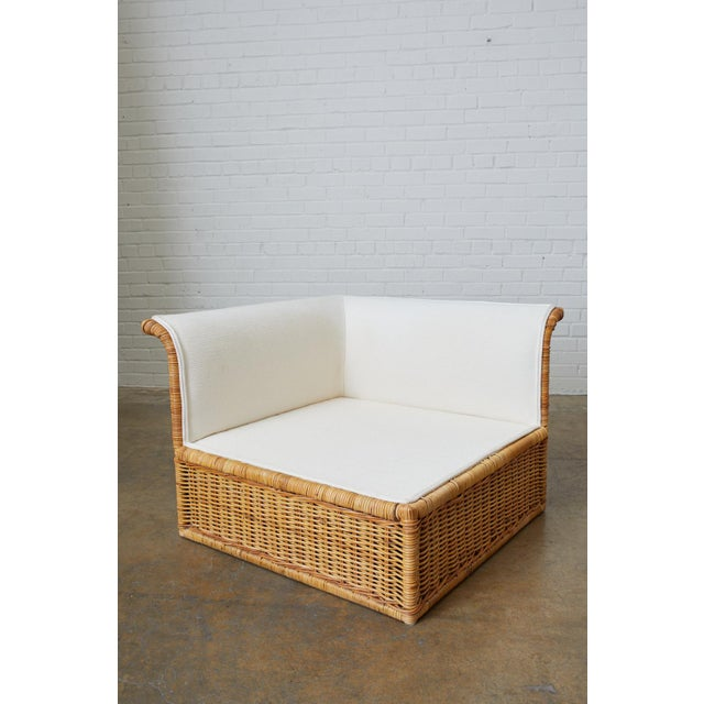 Late 20th Century Michael Taylor Style Rattan Wicker Sectional Sofa For Sale - Image 5 of 13
