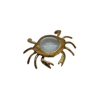 Brass Crab Magnifying Glass Paperweight For Sale