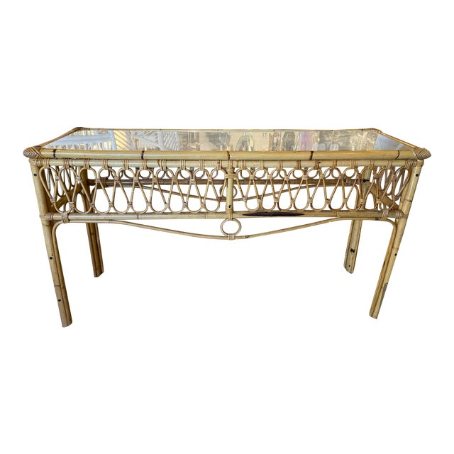 Vintage Tropical Palm Beach Rattan Glass Top Console Sofa Table For Sale