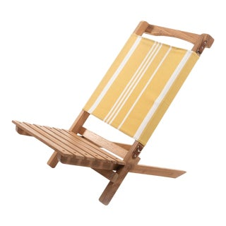 2 Piece Outdoor Chair - Vintage Yellow Stripe For Sale
