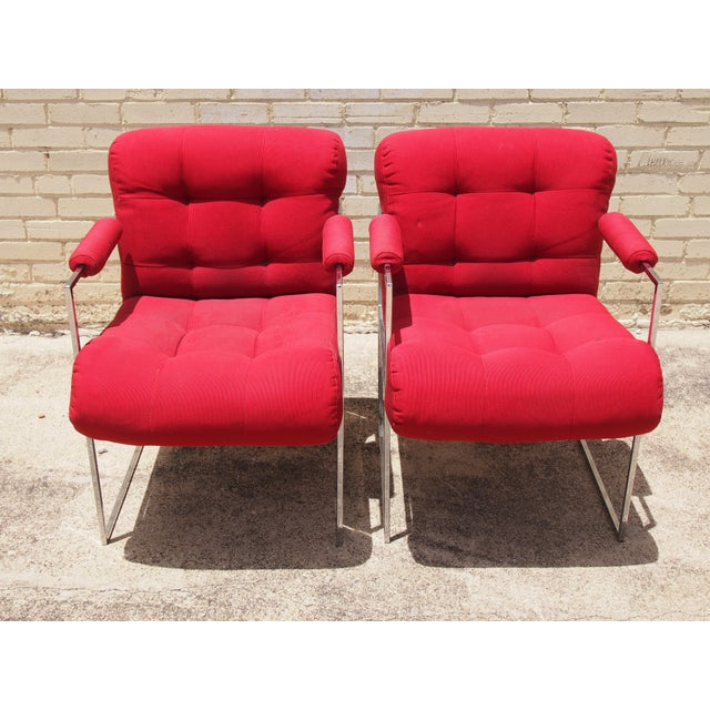 Milo Baughman Lounge Chairs in Red - A Pair - Image 2 of 3