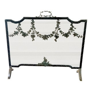 Vintage Italian Rose Garland Fire Screen For Sale
