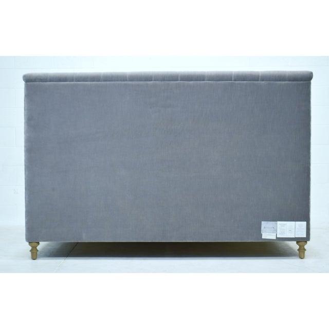 Boho Chic Restoration Hardware Chesterfield Tufted King Bed in Fog Vintage Velvet For Sale - Image 3 of 8